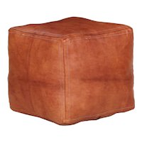 Vintage Stitched Leather Square Footstool Pouf Ottoman, 20th Century