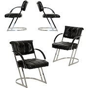 Set of Four Vintage Modern Chrome Steel and Leather Dining Chairs