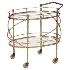 Vintage Bar Cart Trolley in Brass & Glass circa 1960s