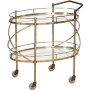 Vintage Brass and Glass Two-Tier Bar Trolley circa 1960s