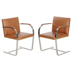 Fine Vintage Pair of Mies van der Rohe for Knoll Leather Steel BRNO Chairs
