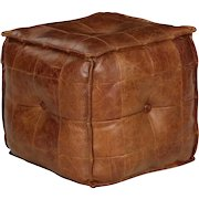 Vintage Stitched Cigar Leather Ottoman Footstool Pouf, 20th Century