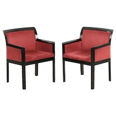 Pair of Modern Black Ebonized Arm Chairs in Art Deco style