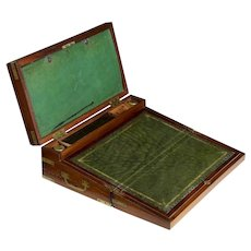 "Antique English Georgian Brass and Mahogany ""Captain's Box"" circa 1810"