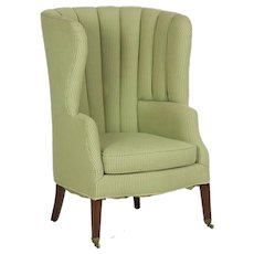 19th Century English Georgian Barrel-Form Wingback Arm Chair