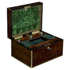 19th Century Antique English Regency Rosewood Jewelry Box by Bramah