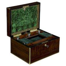 19th Century Antique English Regency Rosewood Jewelry Box by Bramah