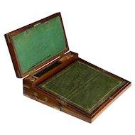 English Georgian Mahogany Antique Captain's Box Writing Slope Lap Desk