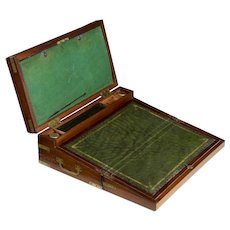 English Georgian Mahogany Antique Captain's Box Writing Slope Lap Desk