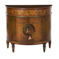 Finely Painted Adam's Style Antique Demilune Cabinet circa 1930s