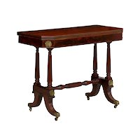 English Regency Mahogany Console Antique Card Table, circa 1815