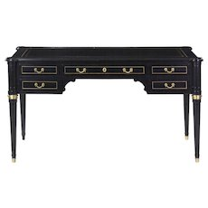 French Louis XVI Style Black Ebonized Writing Table Desk, late 20th century