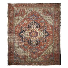 Room Size Antique Heriz Serapi Rug, Heavily Worn circa 1900