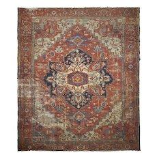 Room Size Antique Heriz Serapi Rug, Heavily Worn circa 1900