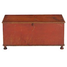American Red-Painted Miniature Blanket Chest circa 1820-40