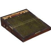 English Regency Rosewood Antique Writing Slope Traveling Lap Desk, 19th Century