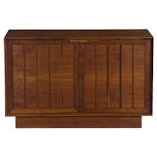 Mid Century Modern Walnut Two-Door Credenza Cabinet