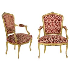 Pair of French Louis XV Style Carved Giltwood Antique Arm Chairs