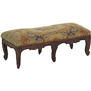 French Provincial Carved Fruitwood Antique Footstool Ottoman