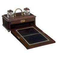 English Victorian Oak Traveling Antique Inkwell Desk Box w/ Writing Slope, 19th Century