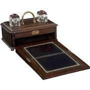 English Victorian Oak Traveling Antique Inkwell Desk Box w/ Writing Slope, 19th Century