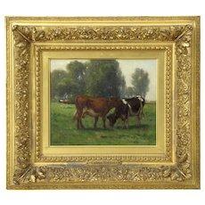 Carleton Wiggins (American, 1848-1932) Barbizon Painting of Cows at Pasture