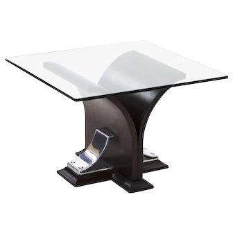20th Century Art Deco Walnut and Aluminum Side Table with Glass Top