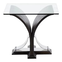 Art Deco Black Ebonized Walnut Side Table circa 1920s