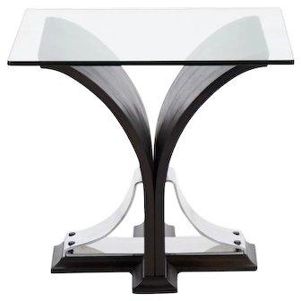 Art Deco Black Ebonized Walnut Side Table circa 1920s