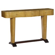 Art Deco Period Birdseye Maple Three-Drawer Console Table, Brazil circa 1940-60