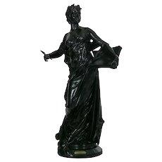 """""""La Science"""" Antique French Bronze Sculpture by Edouard Drouot"""