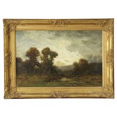 Edward Loyal Field (American, 1856-1914) Antique Tonalist Barbizon Landscape Painting