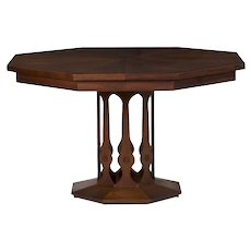 Mid Century Modern Octagonal Inlaid Walnut Dining Table by Foster-McDavid