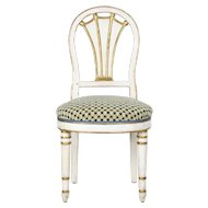19th Century Directoire White Parcel Gilt Side Chair