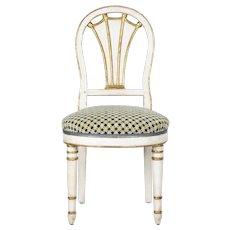 19th Century Directoire White Parcel Gilt Side Chair