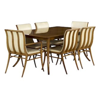 T.H. Robsjohn-Gibbings for Widdicomb Walnut Dining Table with Six Chairs circa 1957