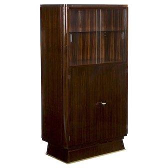 Art Deco Brass and Glass Vitrine Cabinet, Circa 1930