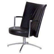 Danish Modern Erik Jørgensen Leather and Steel Club Chair, Model EJ70