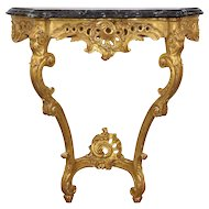 French Louis XV Style Giltwood Console Table, 20th Century