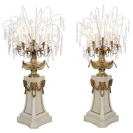 Fine Pair of French Neoclassical Antique Marble Floor Candelabra Lamps