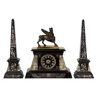 French Egyptian Revival Three-Piece Clock w/ Obelisk Garniture circa 1880