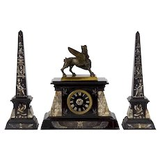 French Egyptian Revival Three-Piece Clock w/ Obelisk Garniture circa 1880