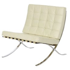 Italian Leather Chrome Barcelona Lounge Chair after Mies van der Rohe