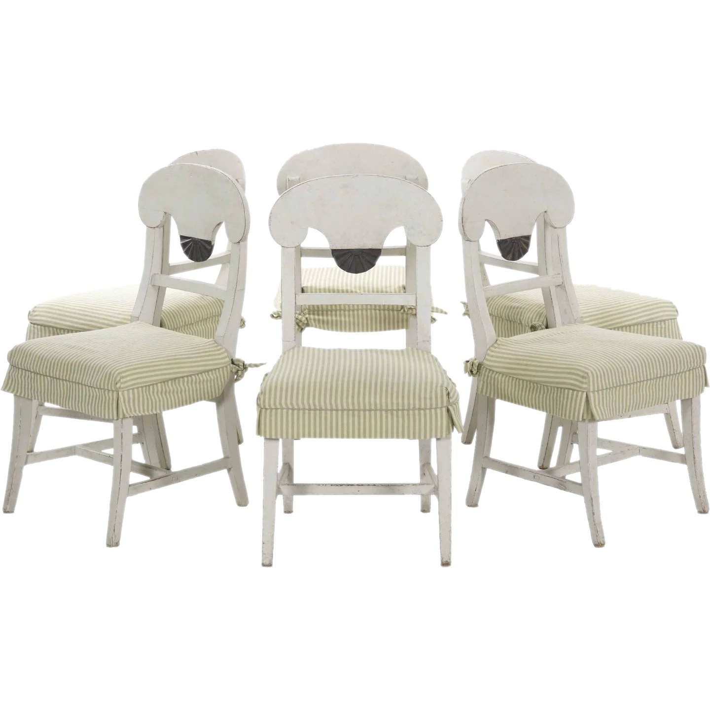 Set Of Six Swedish Gustavian Style White Painted Dining Chairs : Silla,  Ltd. | Ruby Lane