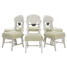 Set of Six Swedish Gustavian Style White Painted Dining Chairs