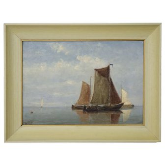 Antique Oil Painting of Fishing Vessels Seascape by Willem Schütz circa 1896