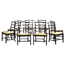 Set Of Eight Irish Queen Anne Style Country Chairs In