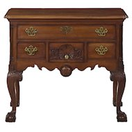 American Chippendale Style Carved Mahogany Lowboy Chest of Drawers, 20th Century