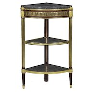 Antique French Louis XVI Style Three-Tier Accent Corner Table c. 1900