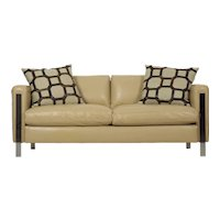 Modern Leather and Chrome Steel Loveseat 20th Century
